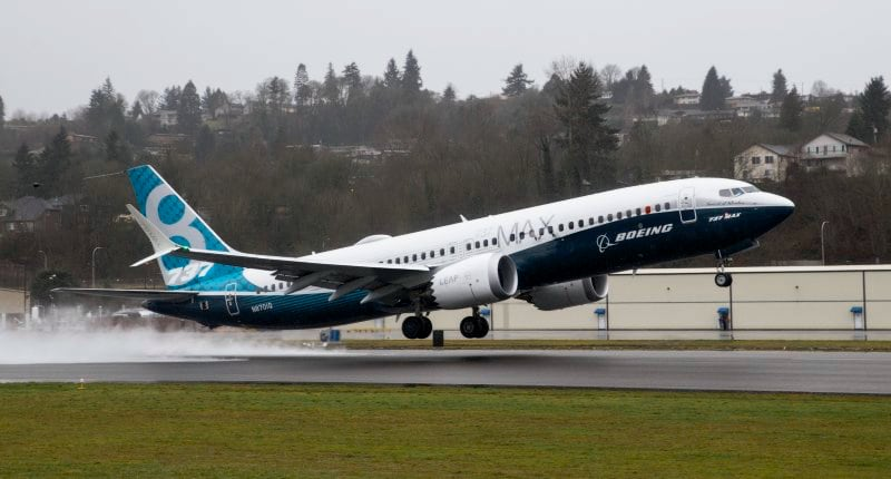 A 737 MAX 8 taking off during a flight test.